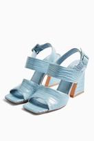 Topshop Womens Natasha Flare Croc Effect Heels - Pale Blue