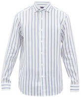 Ralph Lauren Purple Label Double-stripe Linen Shirt - Mens - Blue White