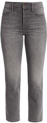 Frame Le High Straight-Leg Foil Tuxedo Stripe Jeans