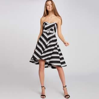 Morgan Ramina Striped Strapless Dress with Bow