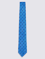 M&S Collection Pure Silk Geometric Print Tie