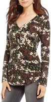 William Rast Woodland North Camo Long-Sleeve Henley Tee