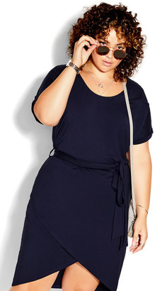 City Chic Relaxed Drape Dress - navy