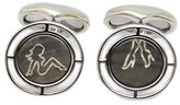 Babette Wasserman Men's Cushion Black Mother of Pearl Deco Lady Legs Cufflinks