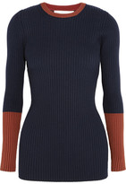 Victoria Beckham Two-tone Ribbed Wool-blend Sweater - Navy
