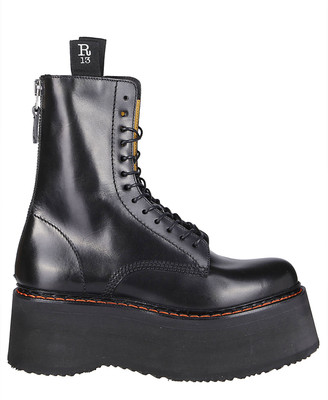 R 13 Black Leather Boots