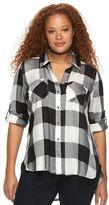Rock & Republic Plus Size Plaid Roll-Tab Shirt