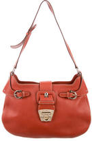 Salvatore Ferragamo Pebbled Leather Shoulder Strap;