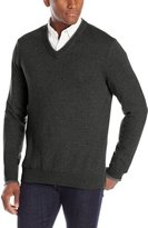 Oxford NY Men's Tipped Cotton V-Neck Sweater