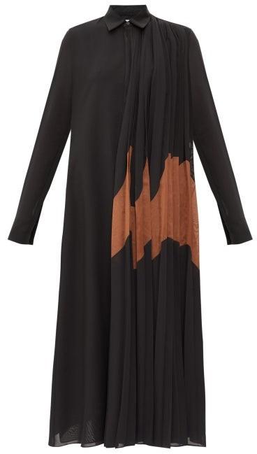 Jil Sander Pleated Asymmetric Cotton-blend Crepe Shirtdress - Womens - Black