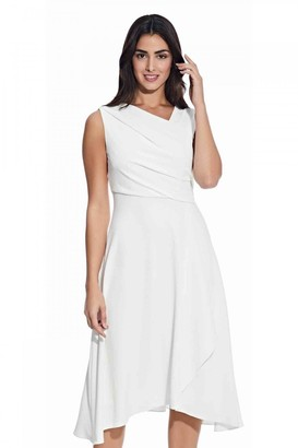 Adrianna Papell Soft Draped A-Line Dress In Ivory