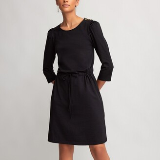 Cotton Crew-Neck Dress with 3/4 Length Sleeves
