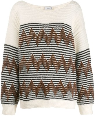 Closed Striped Knitted Jumper
