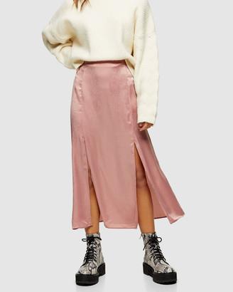 Topshop Petite PETITE Double Split Midi Skirt