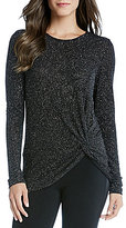 Karen Kane Diamond Dust Side-Twist Long Sleeve Top