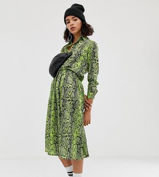 NA-KD Na Kd neon snake print skirt in green
