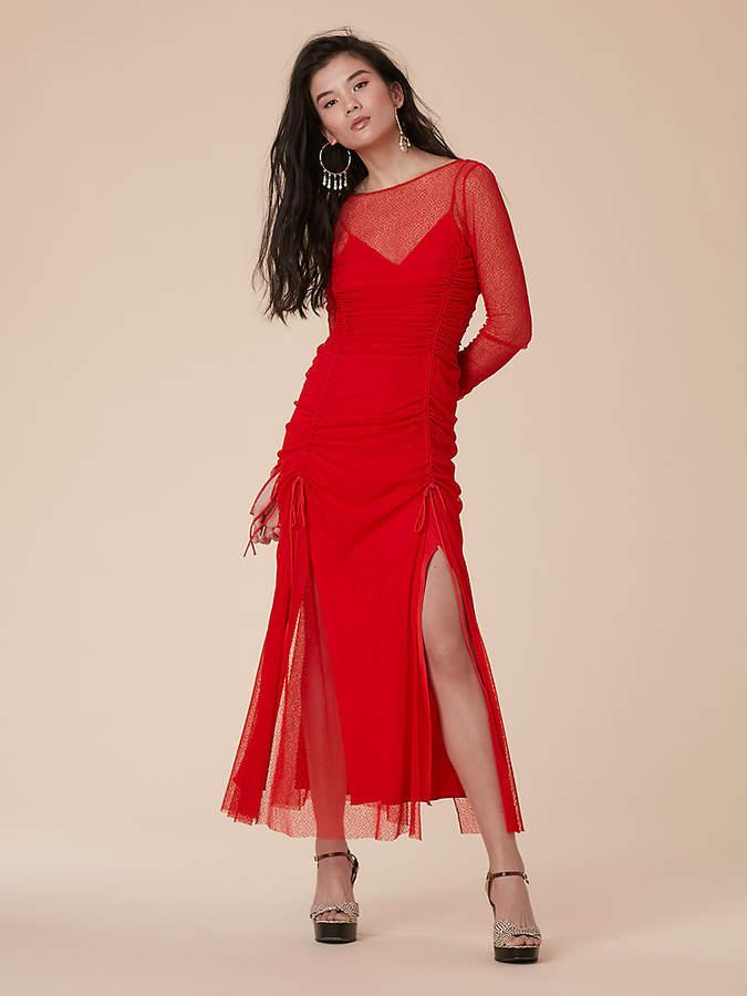 Diane von Furstenberg Maxi Fitted Mesh Lace Dress