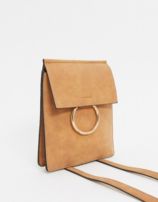 French Connection Faux Leatherand Suede Cross Body Chain Trim Bag