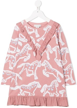 Stella Mccartney Kids Horse-Print Poplin Dress