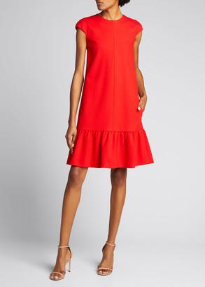 Akris Punto Cap-Sleeve Drop-Waist Crepe Peplum Dress