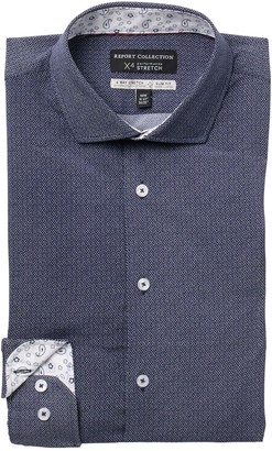 Report Collection Geo Print Performance 4-Way Stretch Slim Fit Dress Shirt