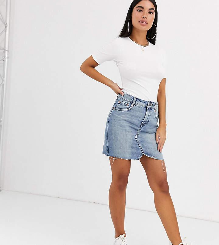 DESIGN Petite denim pelmet skirt in lightwash blue