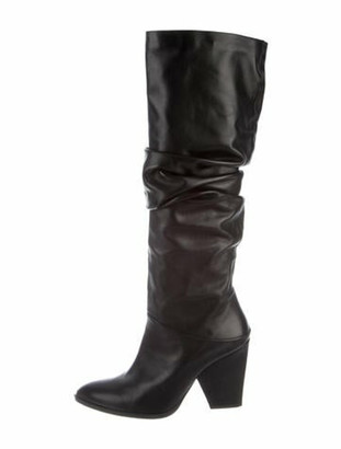 Stuart Weitzman Leather Slouch Boots Black