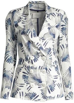 Azulu Tesoro Scallop-Lapel Printed Linen Suit Jacket
