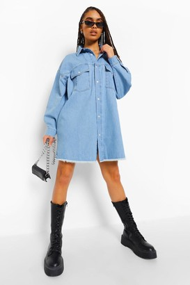 boohoo Fray Hem Denim Pocket Shirt Dress