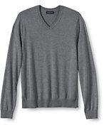 Lands' End Men's Big Performance Soft V-neck Sweater-Pewter Heather