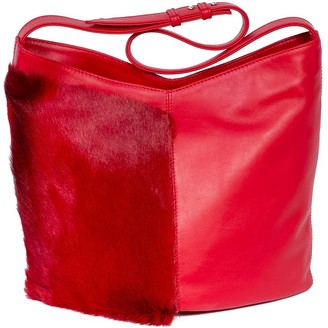 SHERENE MELINDA Hobo Springbok Leather Handbag In Red With A Stripe