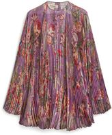 Mulberry Adriana Blouse Lilac Floral Shiny Silk
