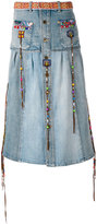 Roberto Cavalli embroidered denim skirt - women - Cotton/Spandex/Elastane - 40