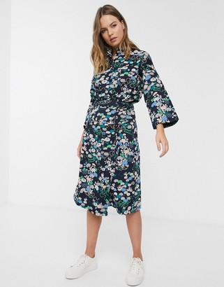People Tree x V&A organic cotton wrap skirt in floral print co-ord