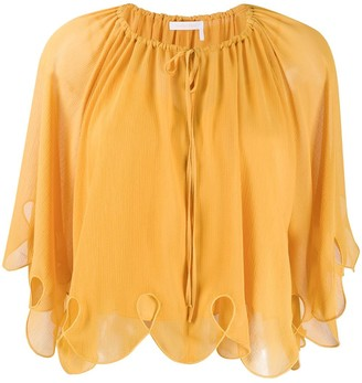See by Chloe Scalloped Tied-Neck Blouse