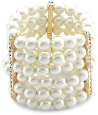Kenneth Jay Lane 6-Row Glass Pearl & Crystal Station Stretch Bracelet