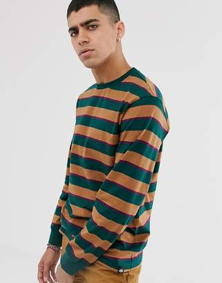 Dickies Latonia stripe long sleeve t-shirt in forest green