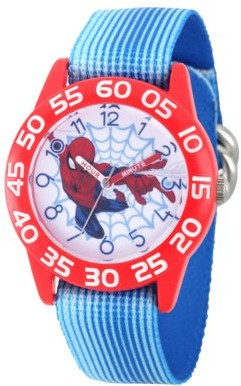Marvel Spider-Man Boys' Red Plastic Time Teacher Watch, Blue Stripe Stretchy Nylon Strap