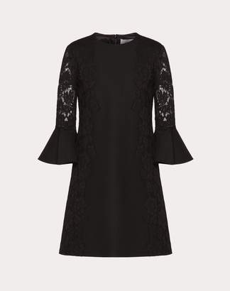 Valentino Crepe Couture And Heavy Lace Dress Women Black Cotton 71%, Viscose 21%, Polyamide 8% 42