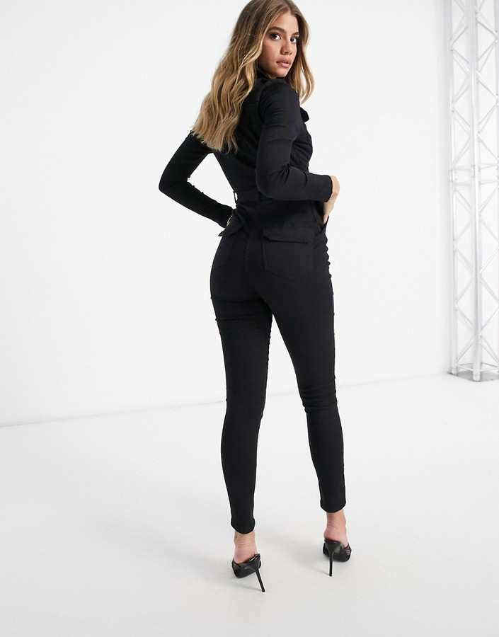 Thumbnail for your product : Parisian zip-front belted denim jumpsuit in charcoal