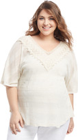 Motherhood Plus Size Lace Trim Maternity T Shirt