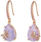 Betsey Johnson Lavender Dragonfly CZ Drop Earrings
