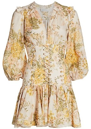 Zimmermann Amelie Floral Puff-Sleeve Corset Linen Dress