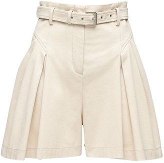Alberta Ferretti High Waist Cotton Gabardine Shorts