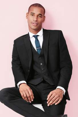 Next Mens Black Regular Fit Three Button Suit: Jacket - Black