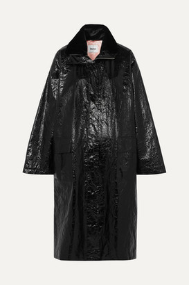 Stand Studio - Maia Crinkled Glossed Faux Leather Coat - Black