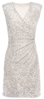 Maje Ruched Sequined Stretch-mesh Mini Dress