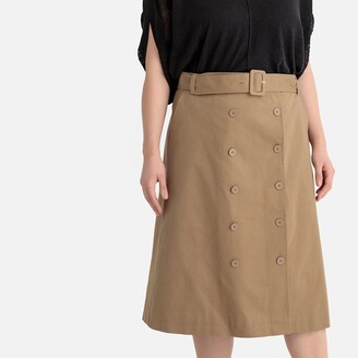 Castaluna Plus Size Double Buttoning Long Skirt