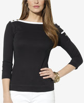 Lauren Ralph Lauren Three-Quarter-Sleeve Boat-Neck Top
