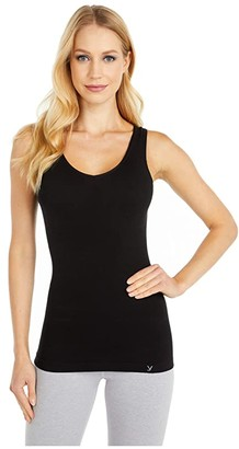 Yummie Cotton Seamless V-Neck Tank Top (Black) Women's Sleeveless